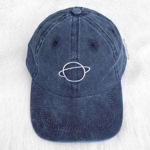 Blue denim washed planet embroidered baseball hat